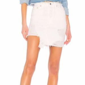 GRLFRND Rhoda Skirt White Denim SZ 25 NWT